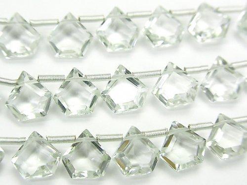 【動画】宝石質グリーンアメジストAAA ペンタゴン ファセットカット7.5×7.5mm 1連(8粒)