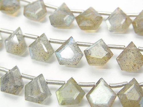 【動画】宝石質ラブラドライトAAA ペンタゴン ファセットカット7.5×7.5mm 1連(8粒)