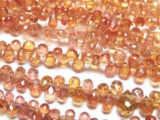 【動画】宝石質オレンジサファイアAAA ドロップ ブリオレットカット 半連/1連(約18cm)