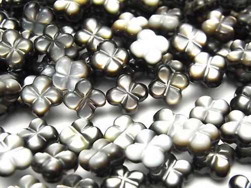 高品質ブラックシェル(黒蝶貝) 四つ葉のクローバー(両面仕上げ)8×8×4mm 半連/1連(約37cm)