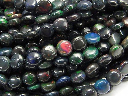 【動画】宝石質エチオピア産ブラックオパールAAA- コイン 半連/1連(約38cm)