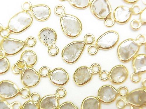 【動画】ホワイトダイヤモンド スライス フリーフォーム 【片カン】 【K18 Yellow Gold】 4個