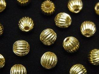 メタルパーツ ライン入りラウンド4・6・8mm ゴールドカラー 20個