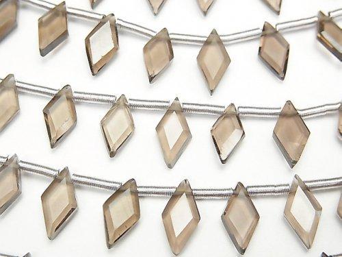 【動画】宝石質スモーキークォーツAAA ダイヤカット10×5mm 1連(18粒)