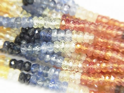 【動画】宝石質マルチカラーサファイアAAA ボタンカット 半連/1連(約42cm)