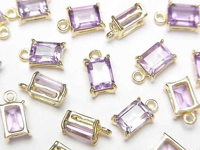 【動画】宝石質ブラジル産アメジストAAA 枠留めレクタングルファセットカット7×5mm 18KGP  2個