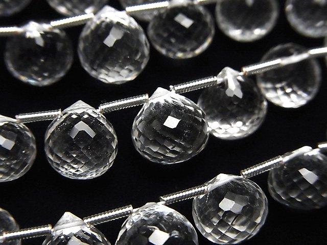 【動画】宝石質クリスタルAAA- オニオン ブリオレットカット 1連(約18cm)