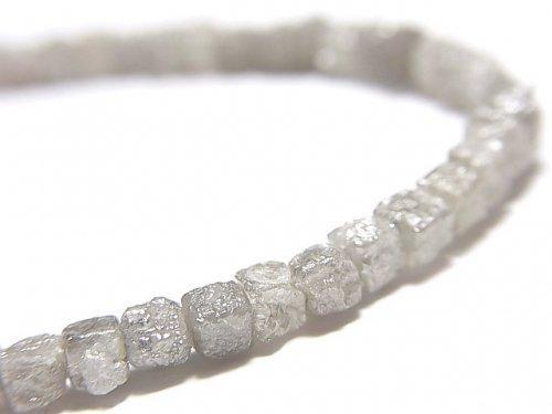 【動画】【1点もの】【1mm穴】グレーダイヤモンド ラフキューブ 1連(ブレス) NO.2