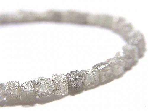 【動画】【1点もの】【1mm穴】グレーダイヤモンド ラフキューブ 1連(ブレス) NO.3