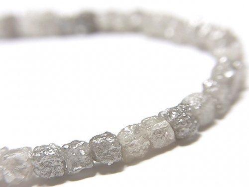 【動画】【1点もの】【1mm穴】グレーダイヤモンド ラフキューブ 1連(ブレス) NO.4