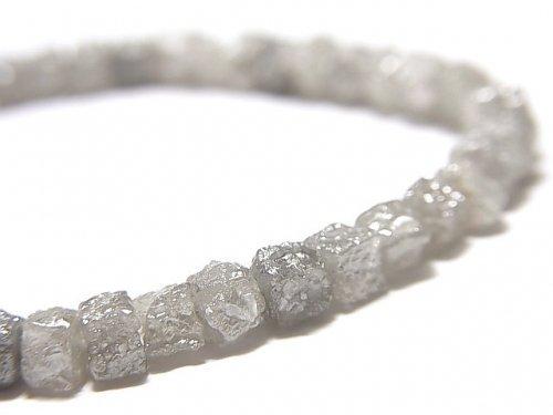 【動画】【1点もの】【1mm穴】グレーダイヤモンド ラフキューブ 1連(ブレス) NO.5