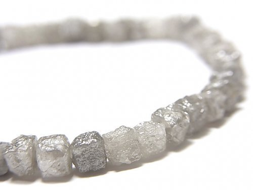 【動画】【1点もの】【1mm穴】グレーダイヤモンド ラフキューブ 1連(ブレス) NO.6