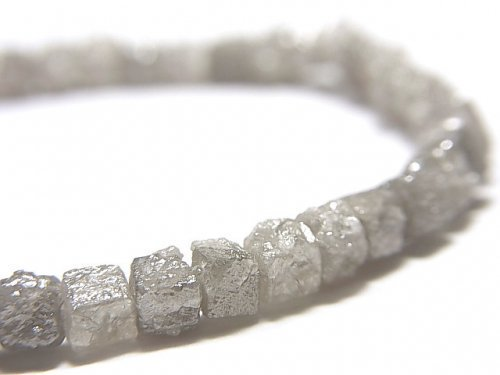 【動画】【1点もの】【1mm穴】グレーダイヤモンド ラフキューブ 1連(ブレス) NO.7
