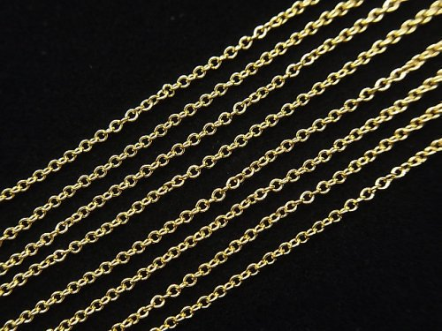 14KGF 丸小豆(あずき)チェーン 約1.0mm幅 40cm ネックレス 1本