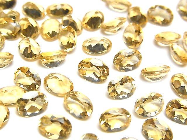 宝石質シトリンAAA 穴なしオーバルファセットカット8×6×4mm 5粒