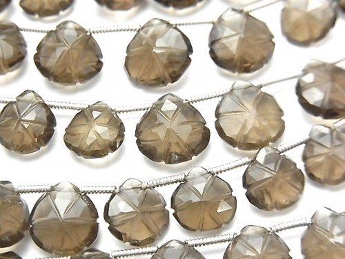 【動画】宝石質スモーキークォーツAAA 彫刻入りマロン 1連(20粒)