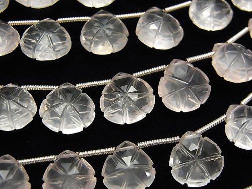 【動画】宝石質ローズクォーツAAA 彫刻入りマロン 1連(16粒)