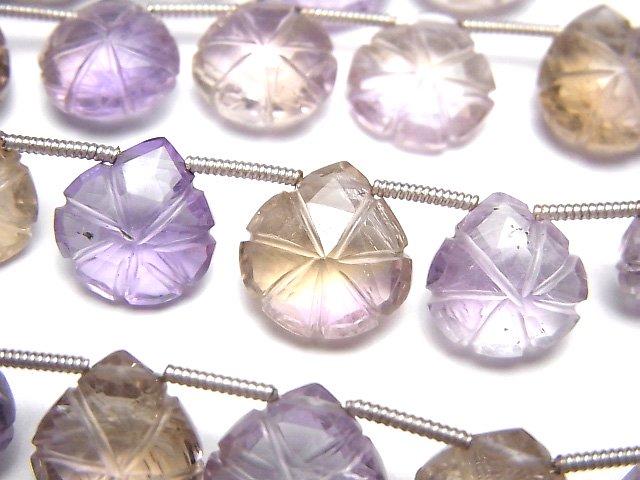 【動画】宝石質アメジスト×シトリンAAA 彫刻入りマロン 1連(16粒)