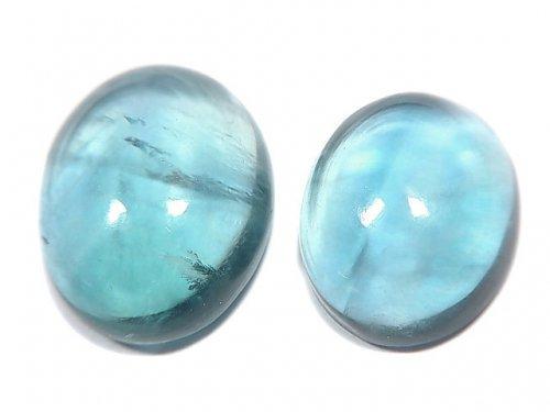 【動画】【1点もの】宝石質ブルーグリーンフローライトAAA カボション 2粒セット NO.84