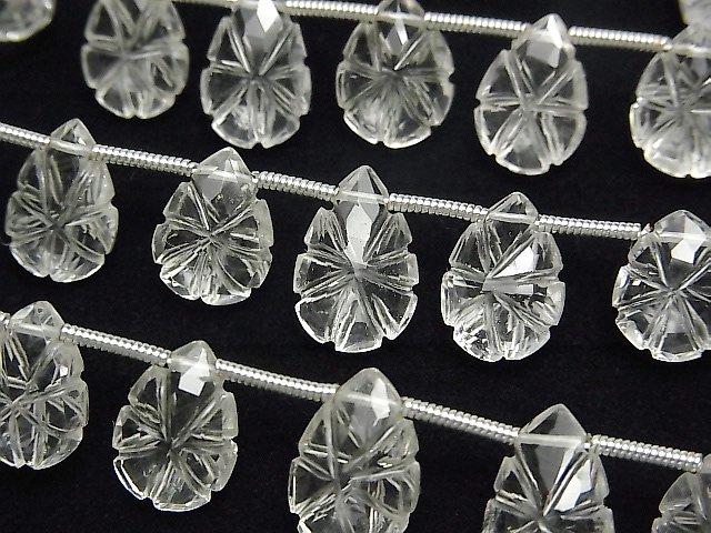 【動画】宝石質クリスタルAAA 彫刻入りペアシェイプ 1連(15粒)
