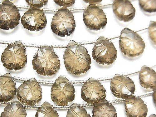 【動画】宝石質スモーキークォーツAAA 彫刻入りペアシェイプ 1連(22粒)