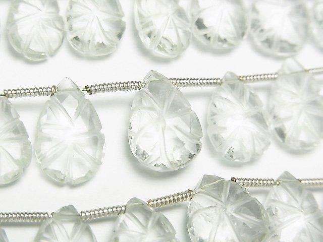 【動画】宝石質グリーンアメジストAAA 彫刻入りペアシェイプ 1連(22粒)