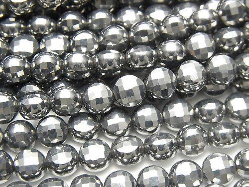 【動画】【素晴らしい輝き】高純度テラヘルツ鉱石 コインカット6×6mm 1連(約36cm)