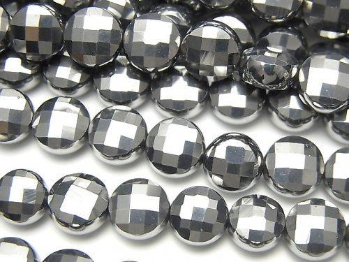 【動画】【素晴らしい輝き】高純度テラヘルツ鉱石 コインカット8×8mm 1連(約36cm)