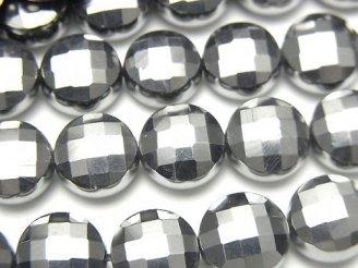 【動画】【素晴らしい輝き】高純度テラヘルツ鉱石 コインカット10×10mm 半連/1連(約36cm)