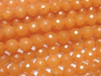 【動画】オレンジカラージェード 128面ラウンドカット6mm 1連(約35cm)