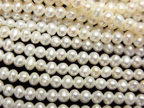 【動画】淡水真珠AAA ポテト3mm ホワイト 1連(約38cm)