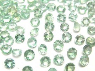 【動画】宝石質グリーンアパタイトAA++ 穴なしラウンドファセットカット4×4mm 5粒