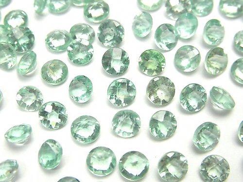 【動画】宝石質グリーンアパタイトAA++ 穴なしラウンドファセットカット5×5mm 4粒