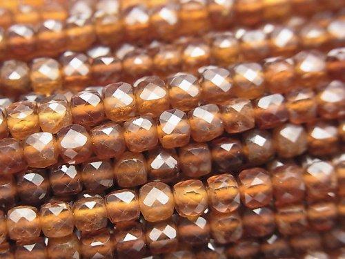 【動画】【素晴らしい輝き】宝石質ヘソナイトAAA キューブカット4×4×4mm 1連(約37cm)