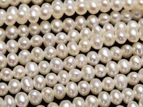 【動画】淡水真珠AAA ポテト2.5〜3mm ホワイト 1連(約38cm)