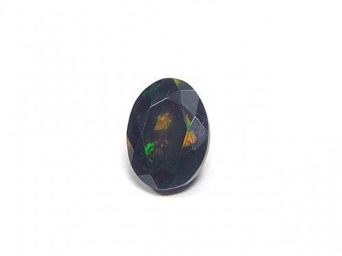 【動画】【1点もの】宝石質エチオピア産ブラックオパールAAA ファセットカット 1粒 NO.50