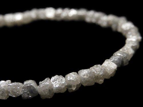 【動画】【1点もの】【1mm穴】グレーダイヤモンド ラフキューブ 1連(ブレス) NO.10