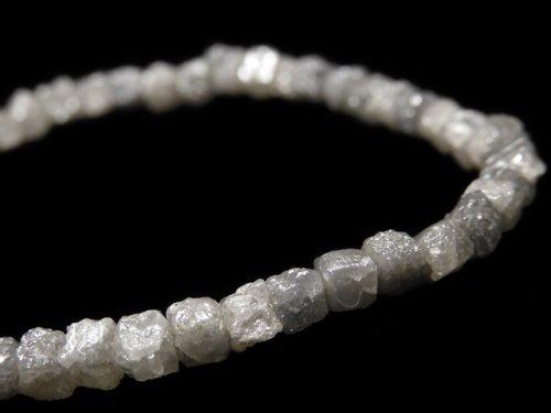【動画】【1点もの】【1mm穴】グレーダイヤモンド ラフキューブ 1連(ブレス) NO.14