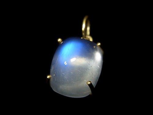 【動画】【1点もの】宝石質レインボームーンストーンAAA ペンダントトップ 18KGP製 NO.128