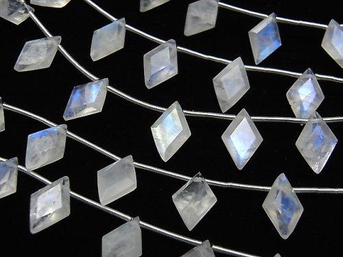 【動画】宝石質レインボームーンストーンAA++ ダイヤファセットカット11×7mm 1連(8粒)