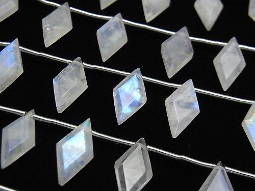 【動画】宝石質レインボームーンストーンAA++ ダイヤカット14×7mm 1連(8粒)