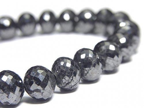 【動画】【1点もの】【1mm穴】ブラックダイヤモンド 大粒ボタンカット 1連(ブレス) NO.4