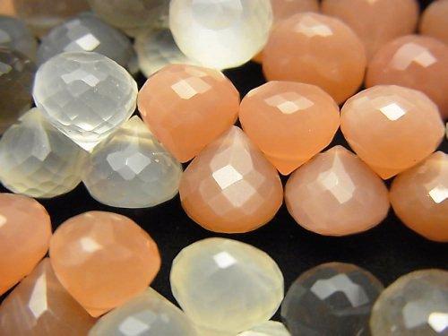 【動画】宝石質マルチカラームーンストーンAAA オニオン ブリオレットカット 半連/1連(約18cm)