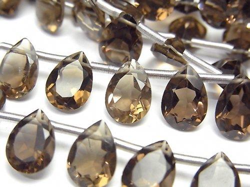 【動画】宝石質スモーキークォーツAAA ペアシェイプファセットカット10×7mm 1連(18粒)