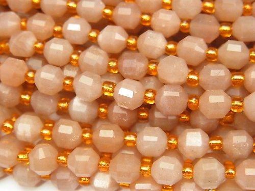 【動画】宝石質オレンジムーンストーンAA++ ダブルポイント チューブカット6×5mm 1連(約37cm)