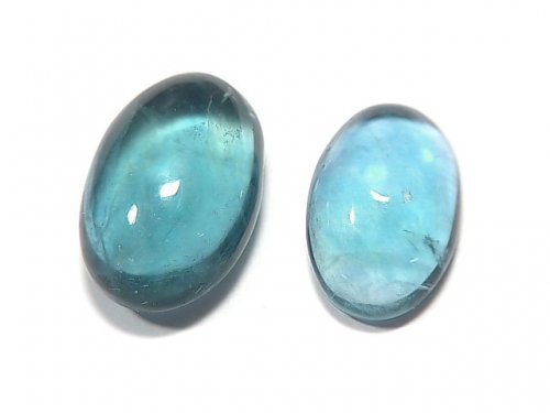 宝石質ブルーグリーンフローライトAAA カボション 2粒セット NO.114 【動画】【1点もの】