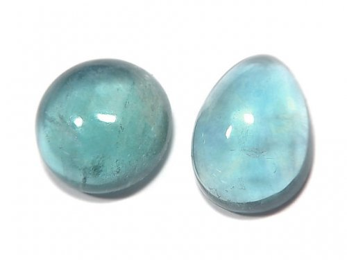 【動画】【1点もの】宝石質ブルーグリーンフローライトAAA カボション 2粒セット NO.116