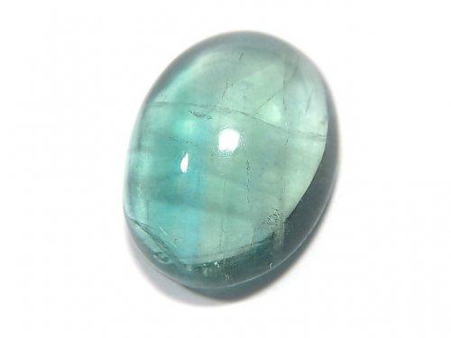 【動画】【1点もの】宝石質ブルーグリーンフローライトAAA カボション 1粒 NO.122