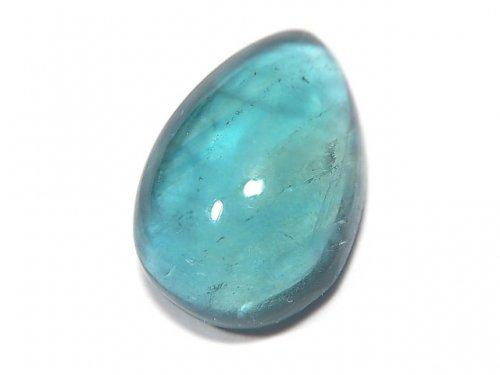 【動画】【1点もの】宝石質ブルーグリーンフローライトAAA カボション 1粒 NO.124