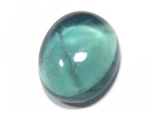 【動画】【1点もの】宝石質ブルーグリーンフローライトAAA カボション 1粒 NO.129